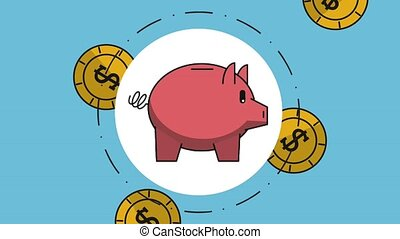 Piggy over raining coins blue background