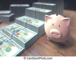 piggy packa ihop, dollarräkningar, växande, bomma för kartlägger
