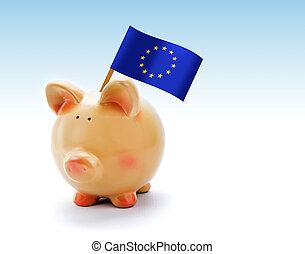 piggy packa ihop, med, flagga, av, den europeisk union