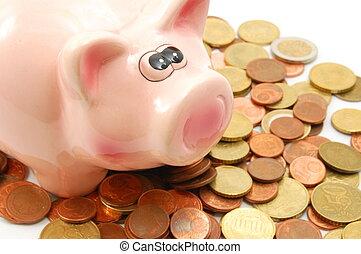 piggy packa ihop, och, pengar