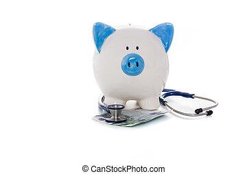 piggy packa ihop, sittande, på, euro antecknar, med, stetoskop