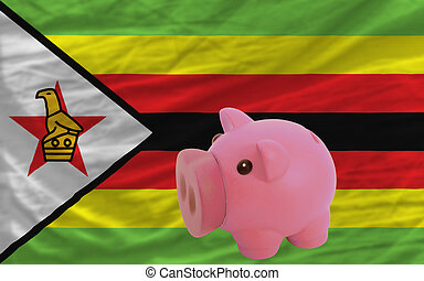 piggy rich bank and national flag of zimbabwe