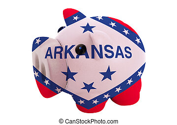 piggy rich bank in colors flag of us state of arkansas for savings on white background