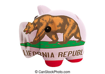 piggy rich bank in colors flag of us state of california for savings on white background