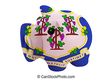 piggy rich bank in colors flag of us state of connecticut for savings on white background