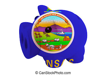 piggy rich bank in colors flag of us state of kansas for savings on white background