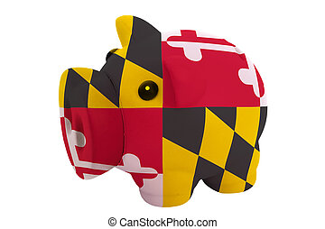 piggy rich bank in colors flag of us state of maryland for savings on white background