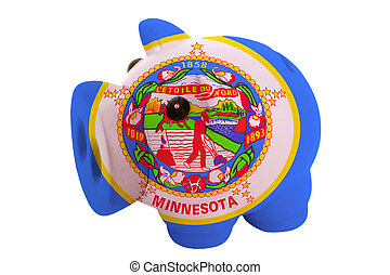 piggy rich bank in colors flag of us state of minnesota for savings on white background