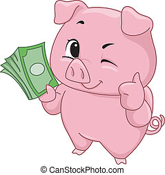 Illustration of a Cute Little Pig Holding a Stack of Cash