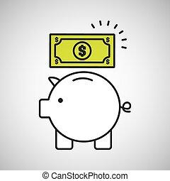 piggy saving money bill dollar