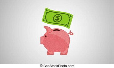 piggy savings money with bills ,hd video animation