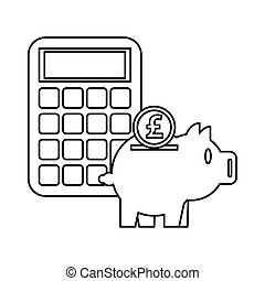 piggy savings money with calculator and sterling pound