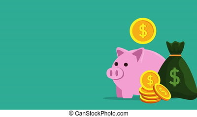piggy savings money with coins dollars ,hd video animation