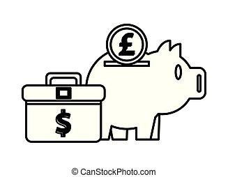 piggy savings money with portfolio and sterling pound