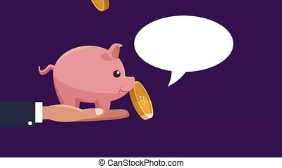 Piggy savings over coins falling background - Hand holding...