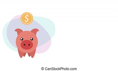 piggy savings with coin money dollar ,hd video animation