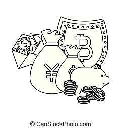 piggy savings with set of commercial coins vector illustrator