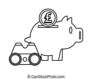 piggy savings with sterling pound and binoculars
