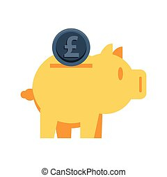piggy savings with sterling pound