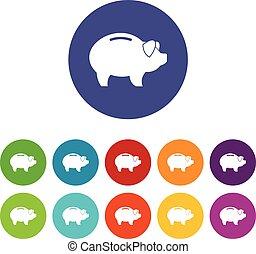 Piggy set icons