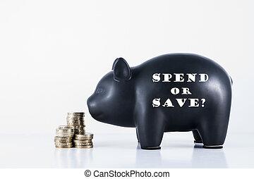 piggy, spendere, o, banca, save?