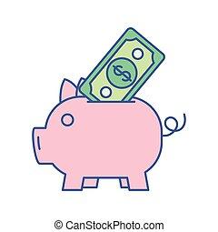 piggy with bill money dollar