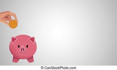 piggy with bitcoin ecommerce animation