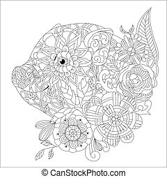 Piggy with flowers coloring book for adults vector