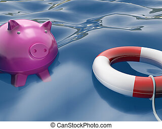 Piggy With Lifebuoy Shows Safety And Security