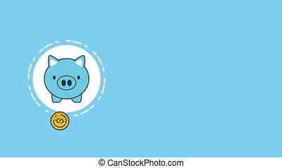 piggy with money economy animation