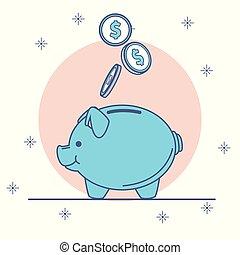 Piggy with money savings cartoons vector illustration...
