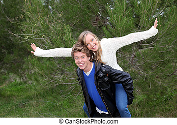 piggyback couple