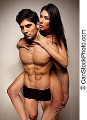 piggyback, excitado, mulher, montando