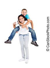 piggyback, irmã, irmão
