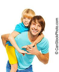 piggyback, jego, ojciec, syn