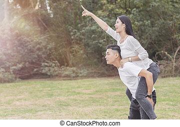 piggyback, sympatia, transport, jego, sympatia