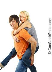 piggybacking, -, felice, giovane, teenaged, coppia, godere, essi stessi, contro, bianco