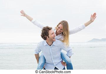 piggybacking, nő, tengerpart, ember