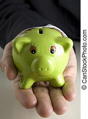 piggybank, 手を持つ