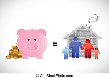 piggybank and family home illustration design