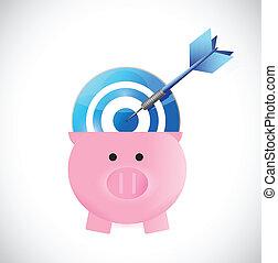 piggybank and target illustration design