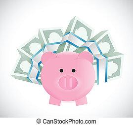piggybank around money illustration design