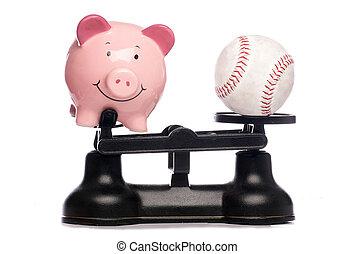 piggybank, base-ball, balances