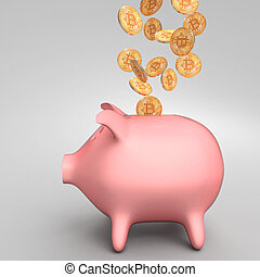 piggybank, bitcoin