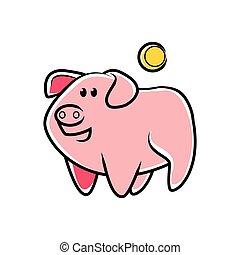 piggybank, dessin animé