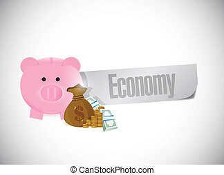 piggybank economy sign illustration design