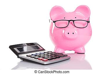 piggybank, en, rekenmachine