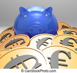 piggybank, entouré, projection, pièces, économies, européen