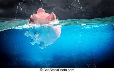 piggybank floats in the stormy sea