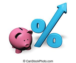 piggybank, i tiltagende, cents per